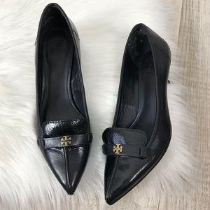 Tory Burch Eliza Black Patent Leather Kitten Heels